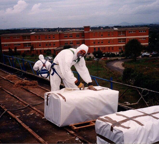 Imballaggio lastre in amianto